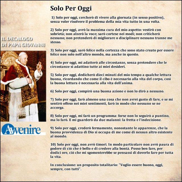 Decalogo di Papa Giovanni